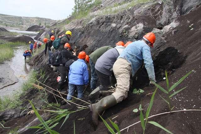 Exkursionsteilnehmer beim Bernstein(Krantzit-)suchen in einer marinen Prielfüllung im mitteleozänen Unterflözkomplex (MIBRAG-Tagebau Profen-Süd, Foto: A. Struzina)