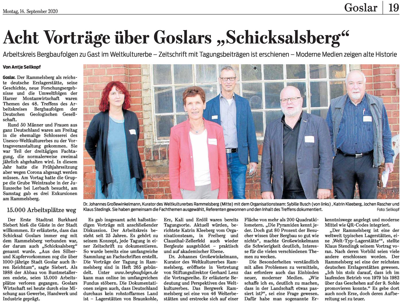 Zeitungsausschnitt der Goslarschen Zeitung vom 12.09.2020