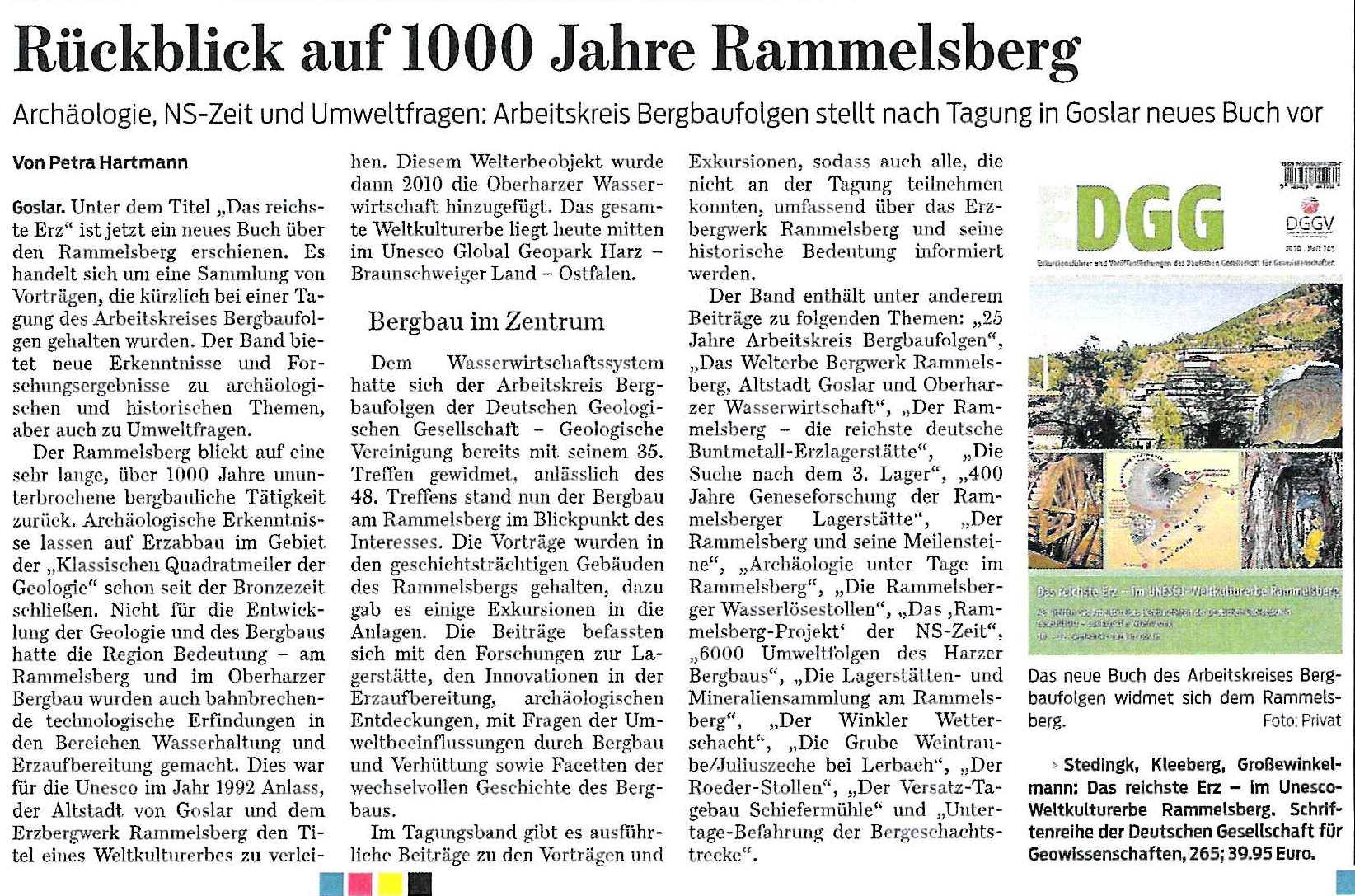 Zeitungsausschnitt der Goslarschen Zeitung vom 10.11.2020