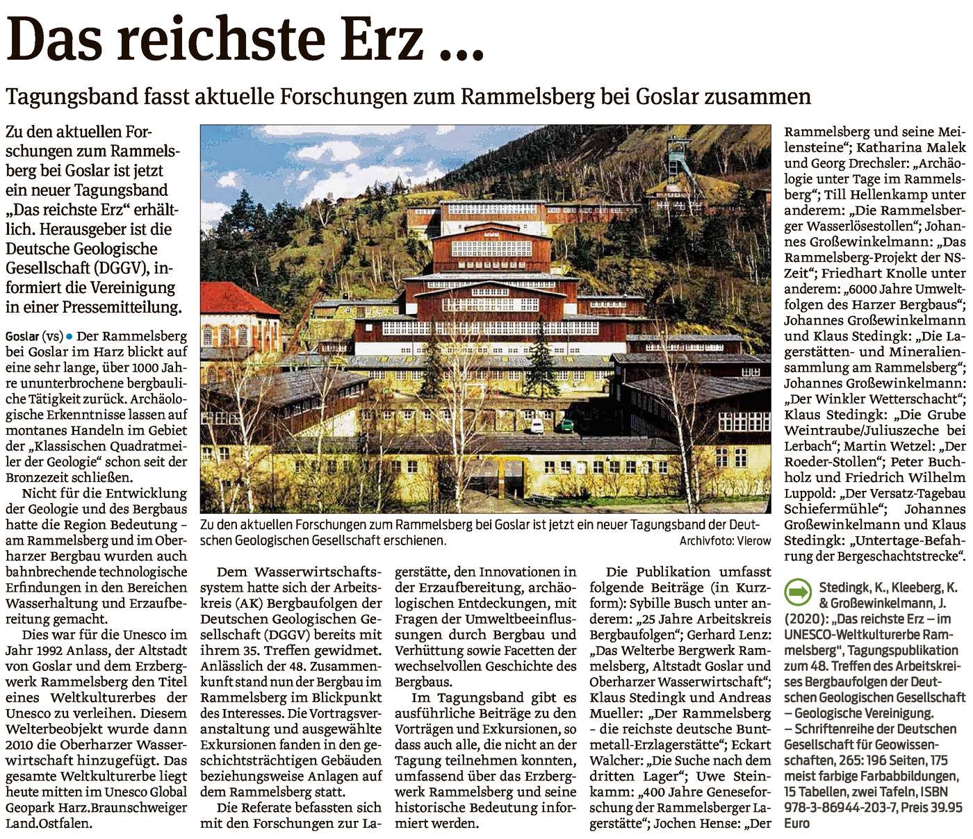 Zeitungsausschnitt der Harzer Volksstimme vom 27.10.2020