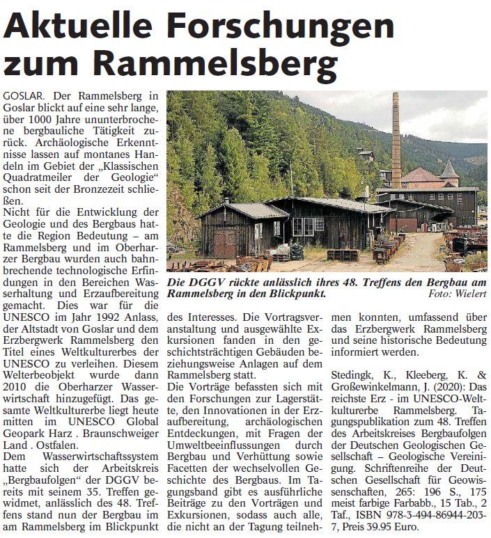Zeitungsausschnitt der Harzwoche vom 21.10.2020